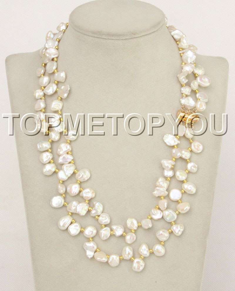 """String Pearl Necklace: Natural 18"""" 2 String White Reborn Keshi Pearl Necklace E4347"""