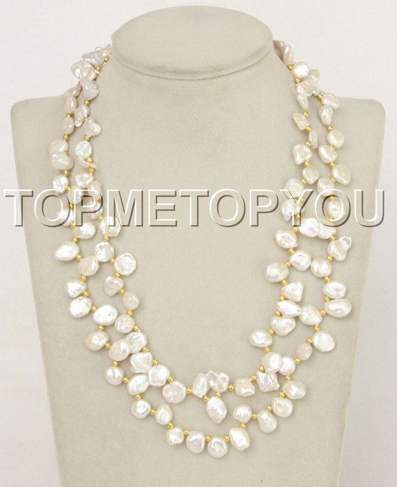 "Natural 18"" 2 String White Reborn Keshi Pearl Necklace E4347"