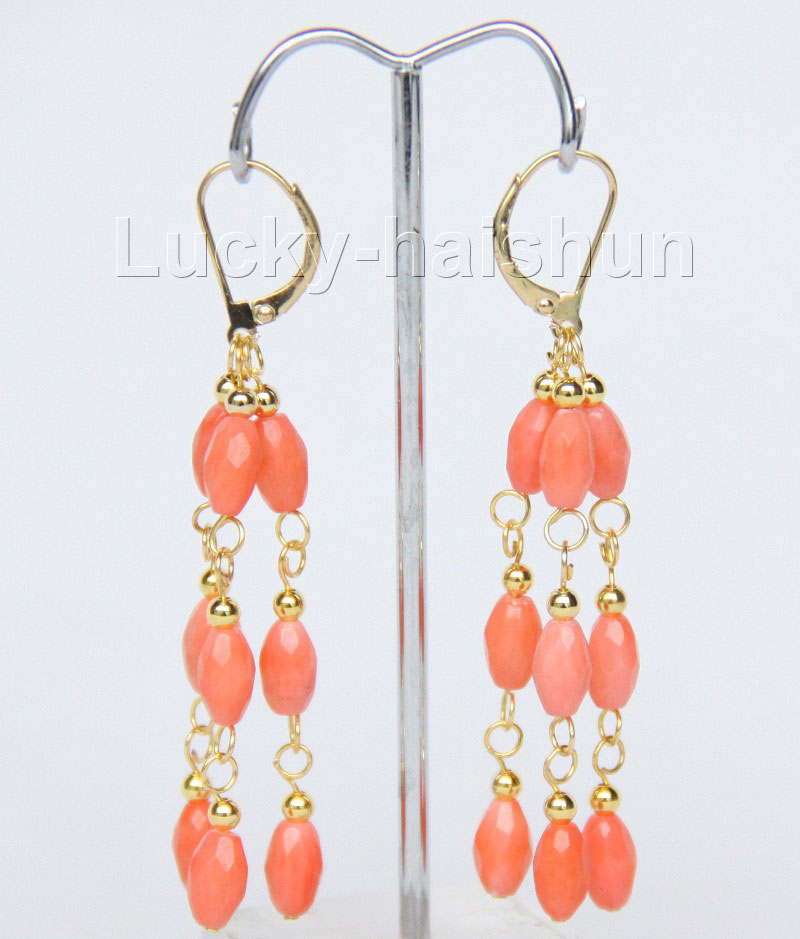 dangle genuine carven pink coral earrings 14k gold j9386